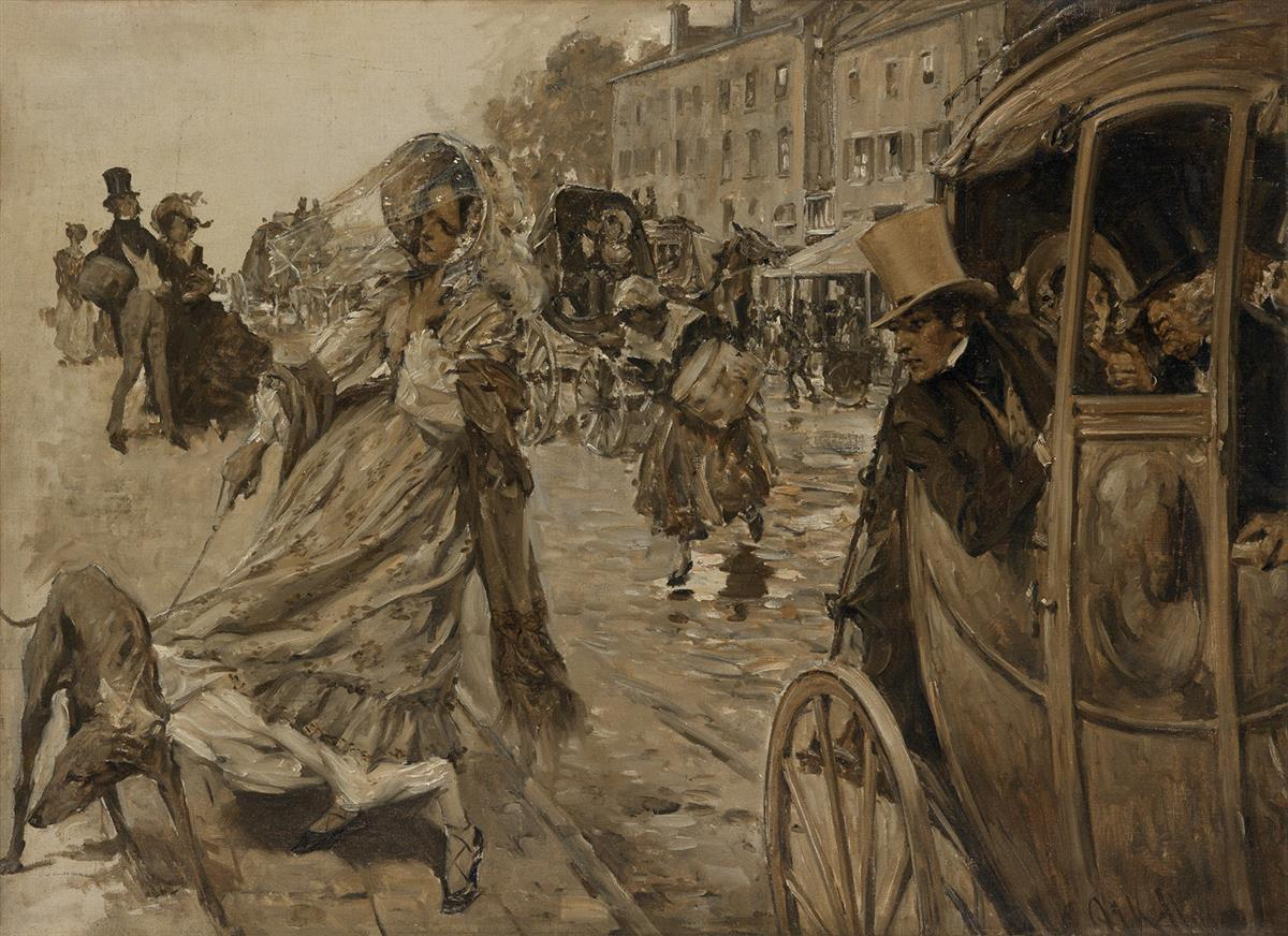 ARTHUR IGNATIUS KELLER. As the stage swung down into the city, he pointed out a girl strolling along with a greyhound on the leash o