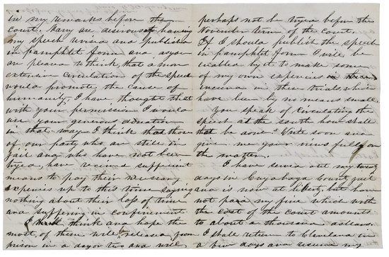 (SLAVERY AND ABOLITION.) LANGSTON, CHARLES HENRY. Autograph Letter Signed from an African-American Abolitionist to Benjamin Coates, a P