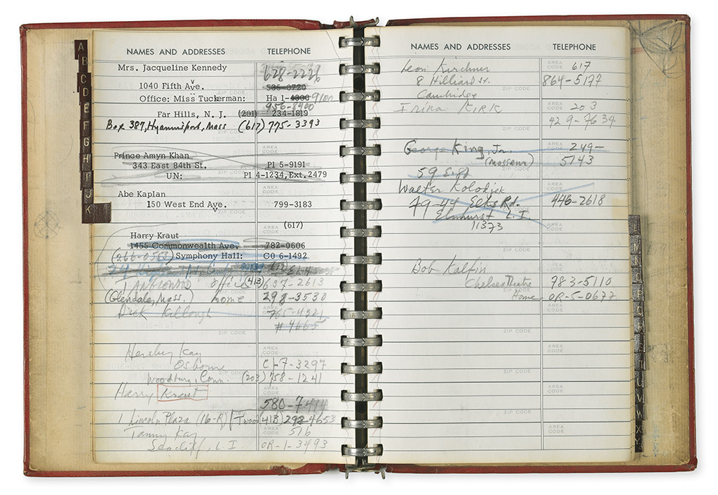BERNSTEIN, LEONARD. His address book, containing over 100 entries typed, written in ink, or in blue or red pencil,