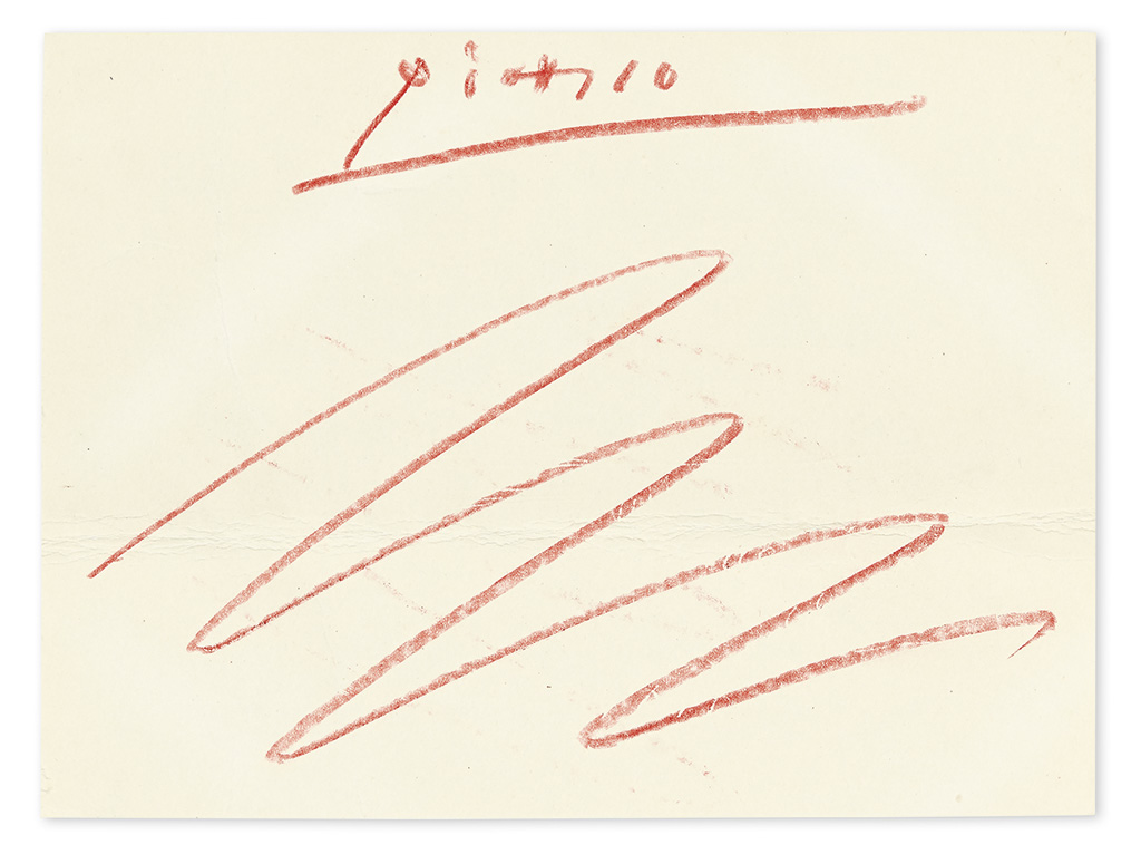 PICASSO, PABLO. Signature, Picasso, with paraph, in red crayon, on the verso of a printed invitation, in French,
