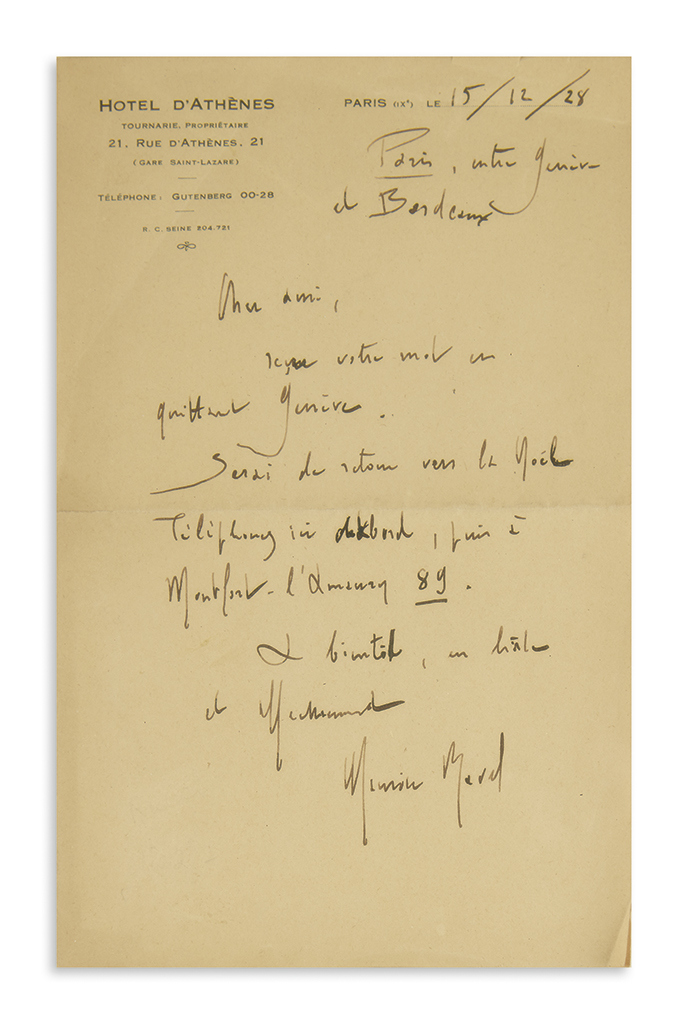 RAVEL-MAURICE-Two-items-Autograph-Musical-Quotation-Signed--