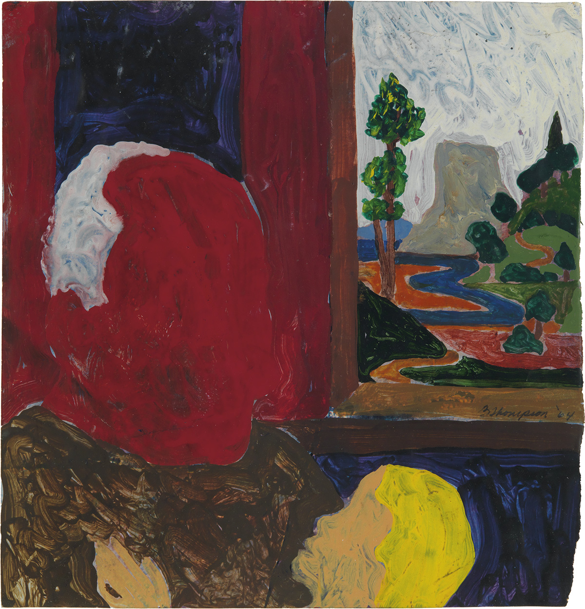 BOB THOMPSON (1937 - 1966) Untitled (Red Man with Child in Landscape).