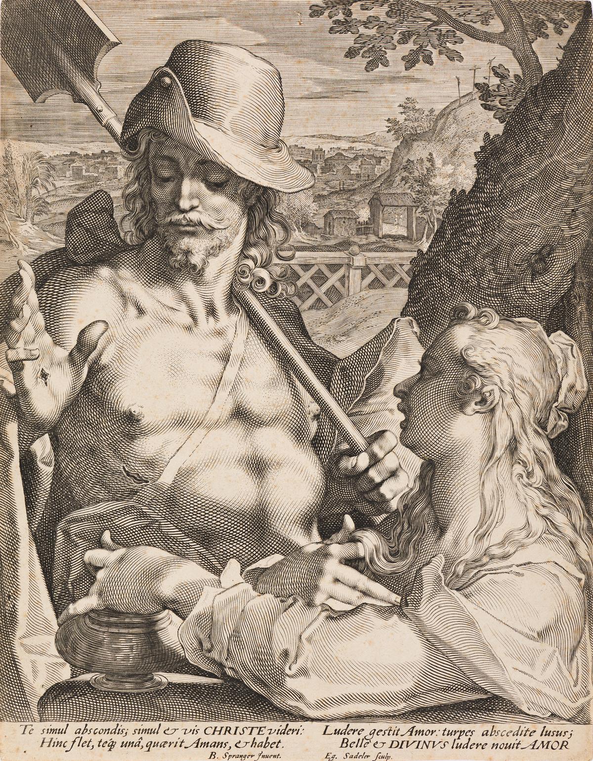 AEGIDIUS SADELER (after Bartholomeus Spranger) Christ Appears as a Gardener to Mary Magdalene (Noli mi tangere)