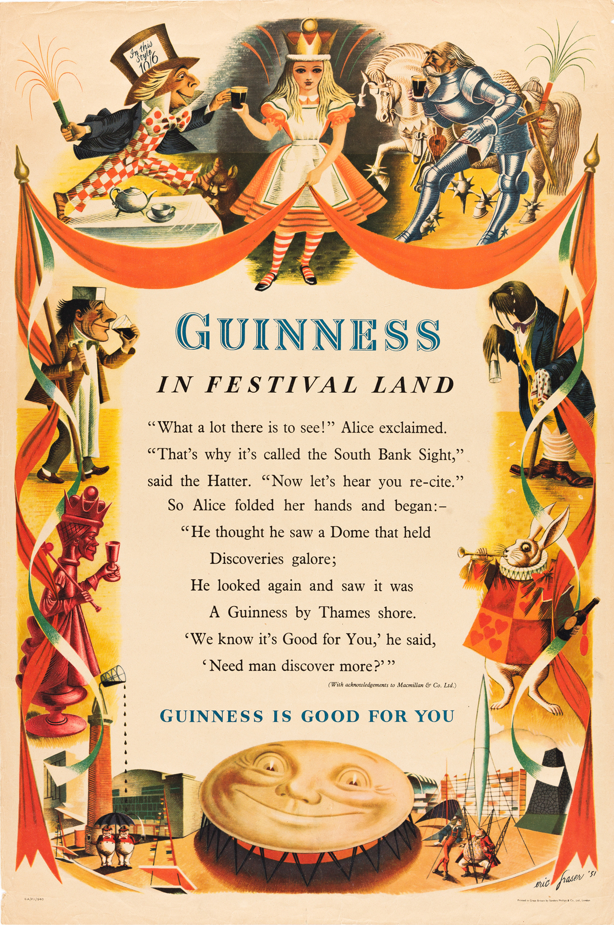 ERIC FRASER (1902-1983).  GUINNESS IN FESTIVAL LAND. 1951. 30x20 inches, 76x50 cm. Sanders Phillips & Co., Ltd., London.