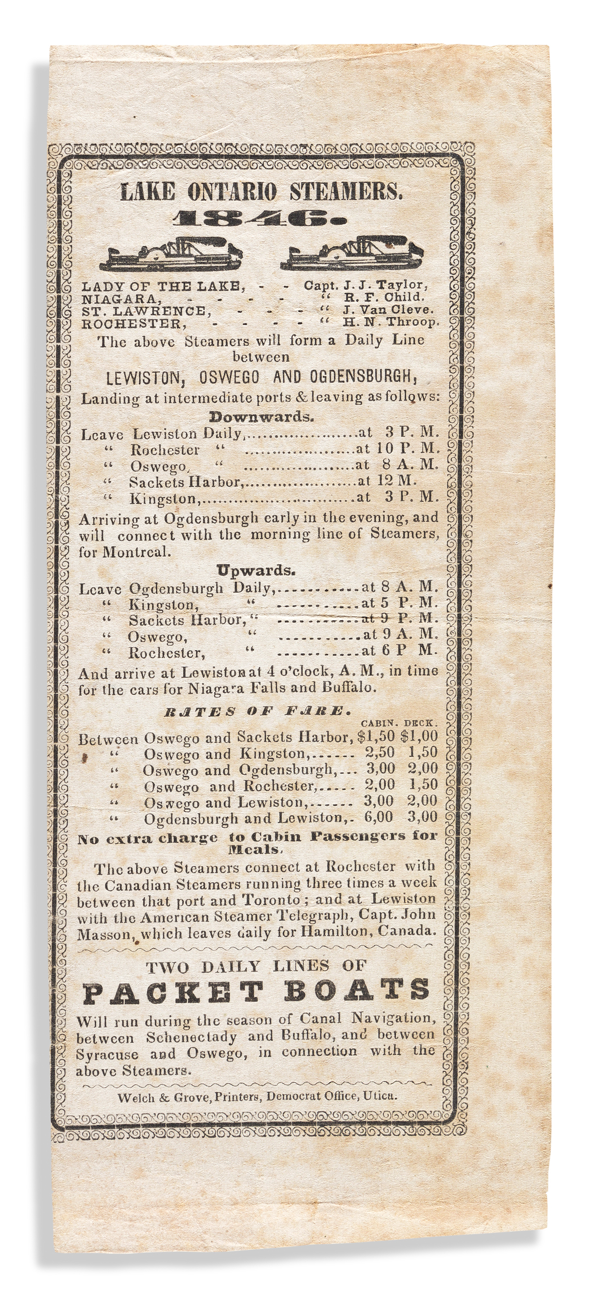 (NEW YORK.) Time-table, fare schedule and information sheet for travel on Lake Ontario in 1846.
