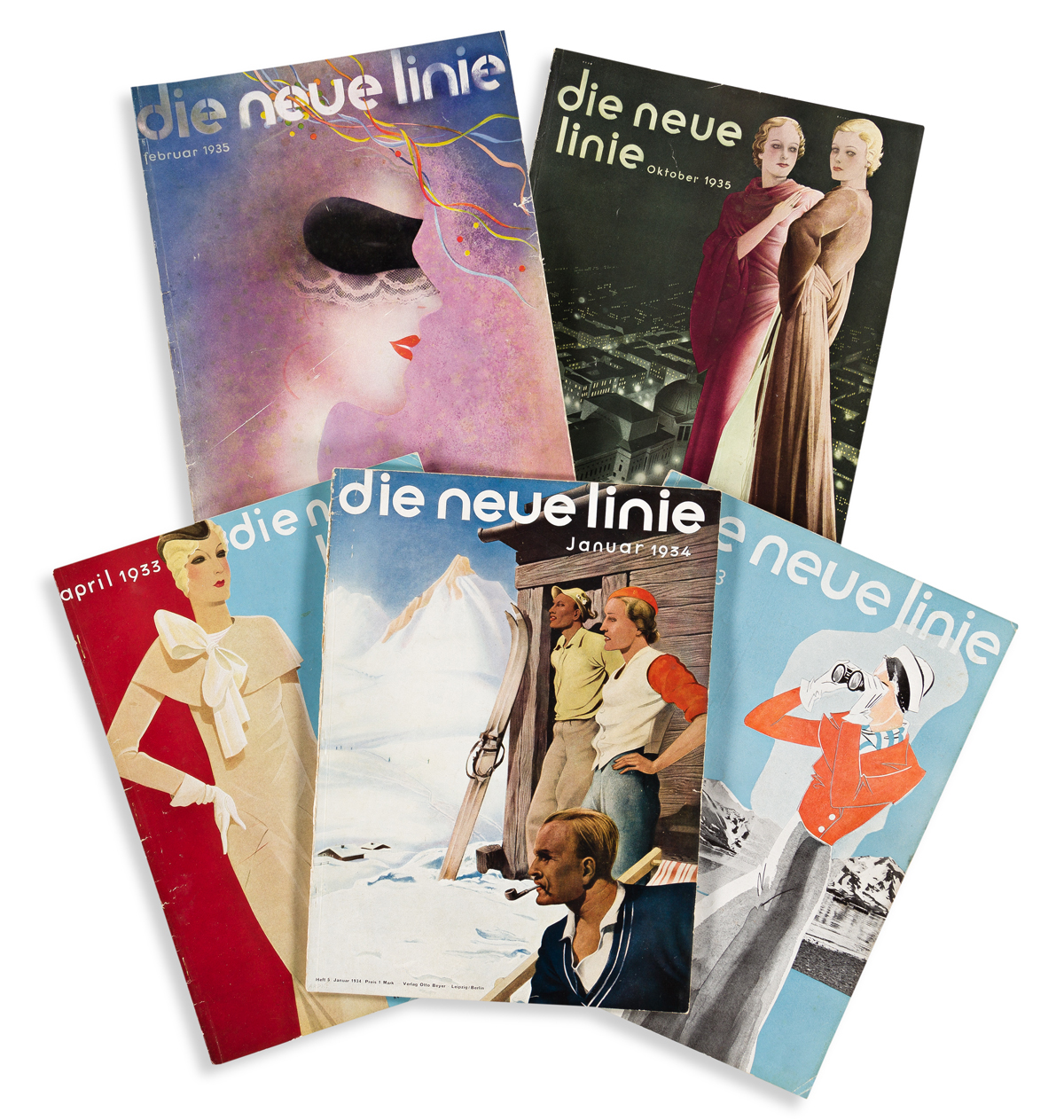 VARIOUS ARTISTS.  DIE NEUE LINIE. Group of 17 issues. 1933-1937. Each 14½x10½ inches, 36¾x26½ cm.