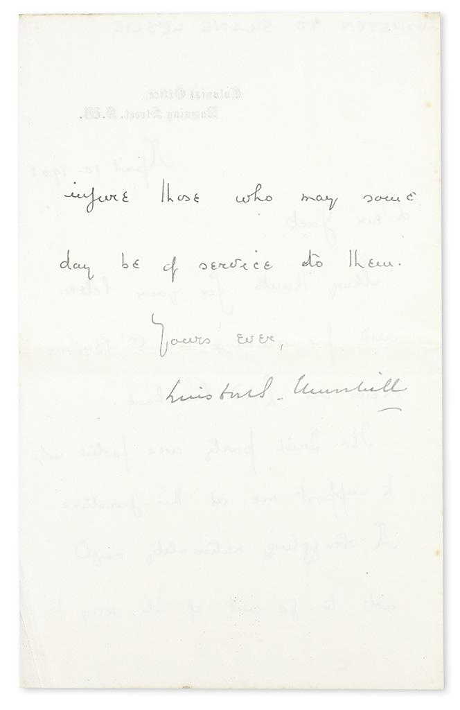 CHURCHILL, WINSTON S. Letter Signed, to his cousin Shane Leslie (Dear Jack),