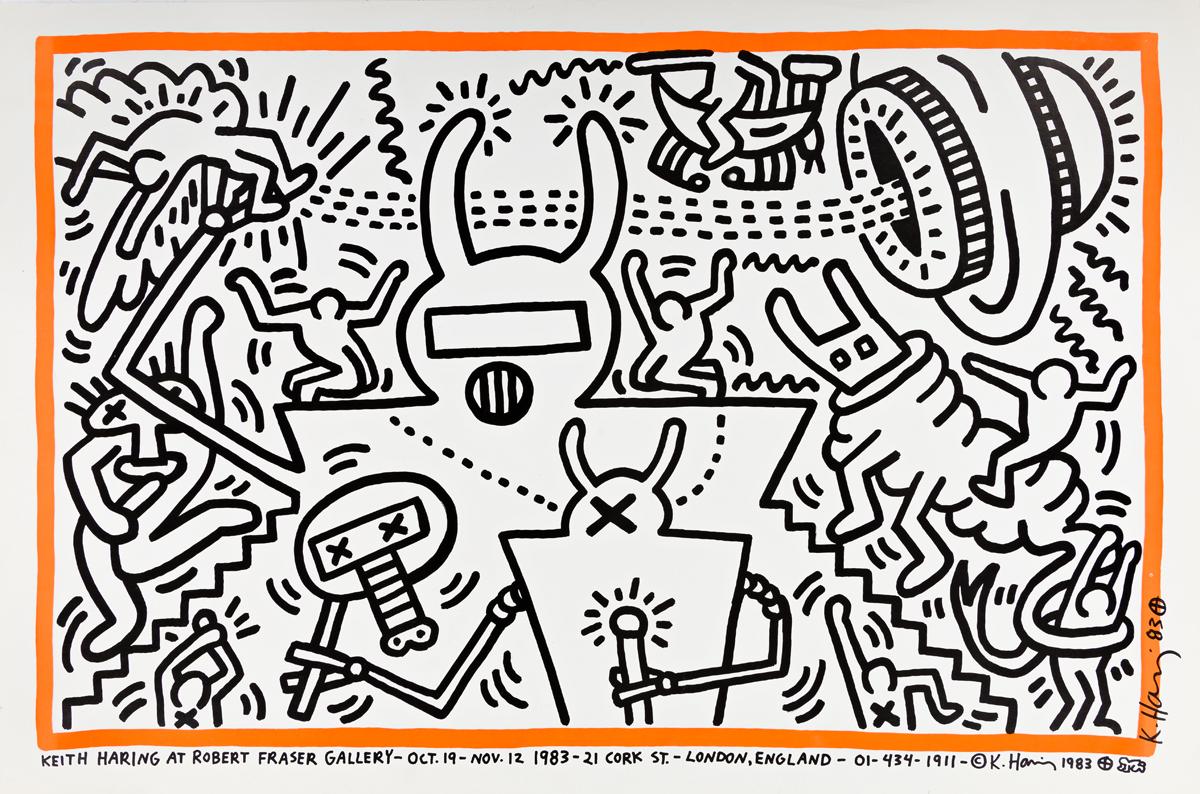 KEITH HARING (1958-1990) Keith Haring at Robert Fraser Gallery.