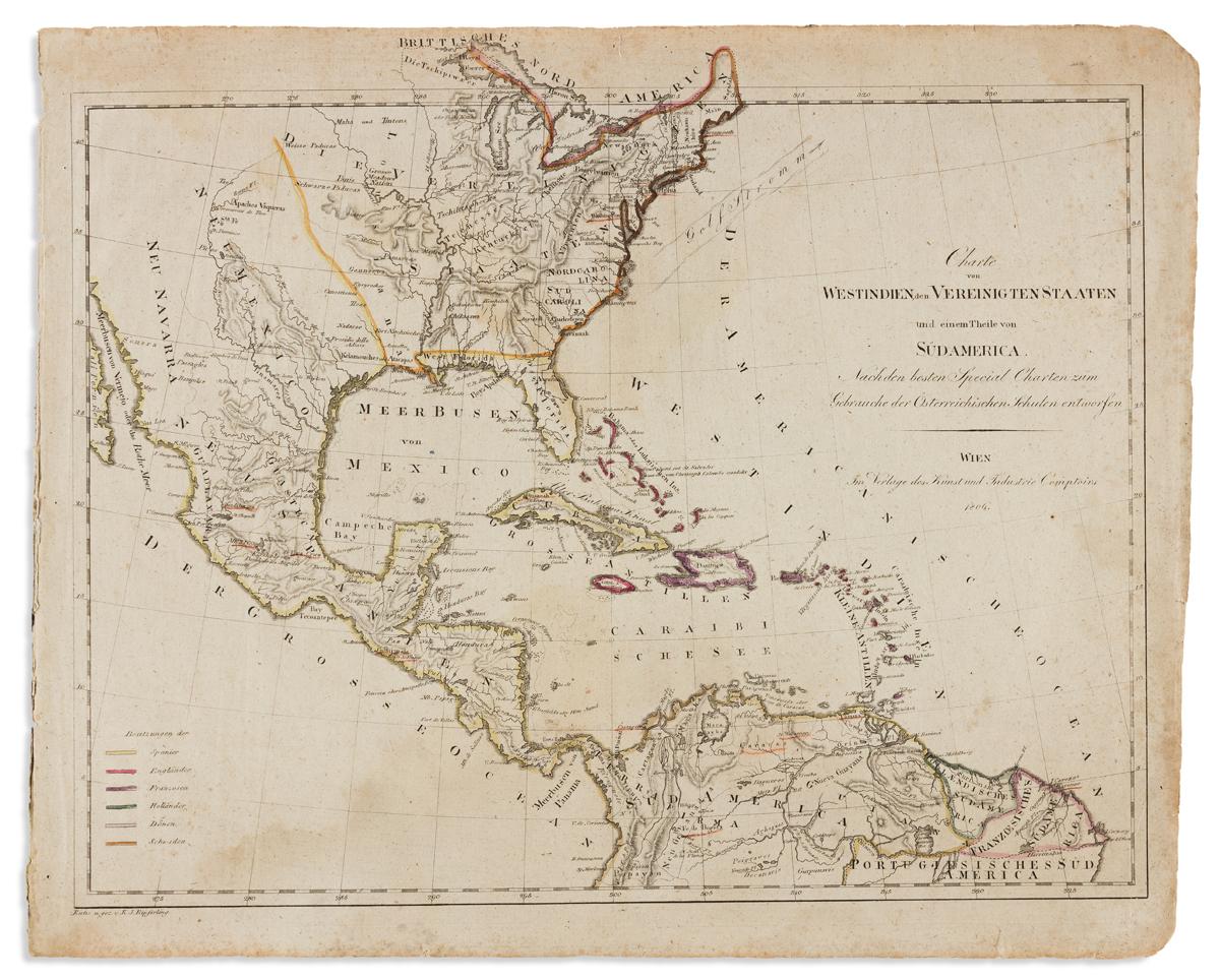 KIPFERLING, KARL JOSEPH. Charte von Westindien den Vereinigten Staaten und Einem Theile von Sud America.