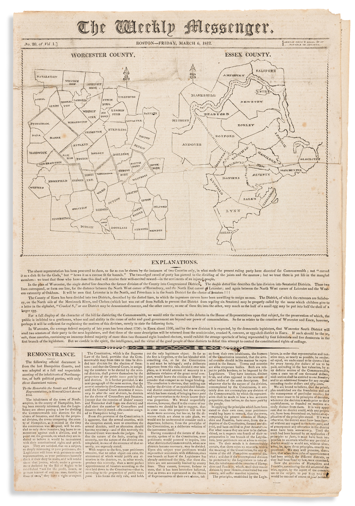 (POLITICS.) Issue of the Boston Weekly Messenger featuring the map which inspired the Gerrymander.