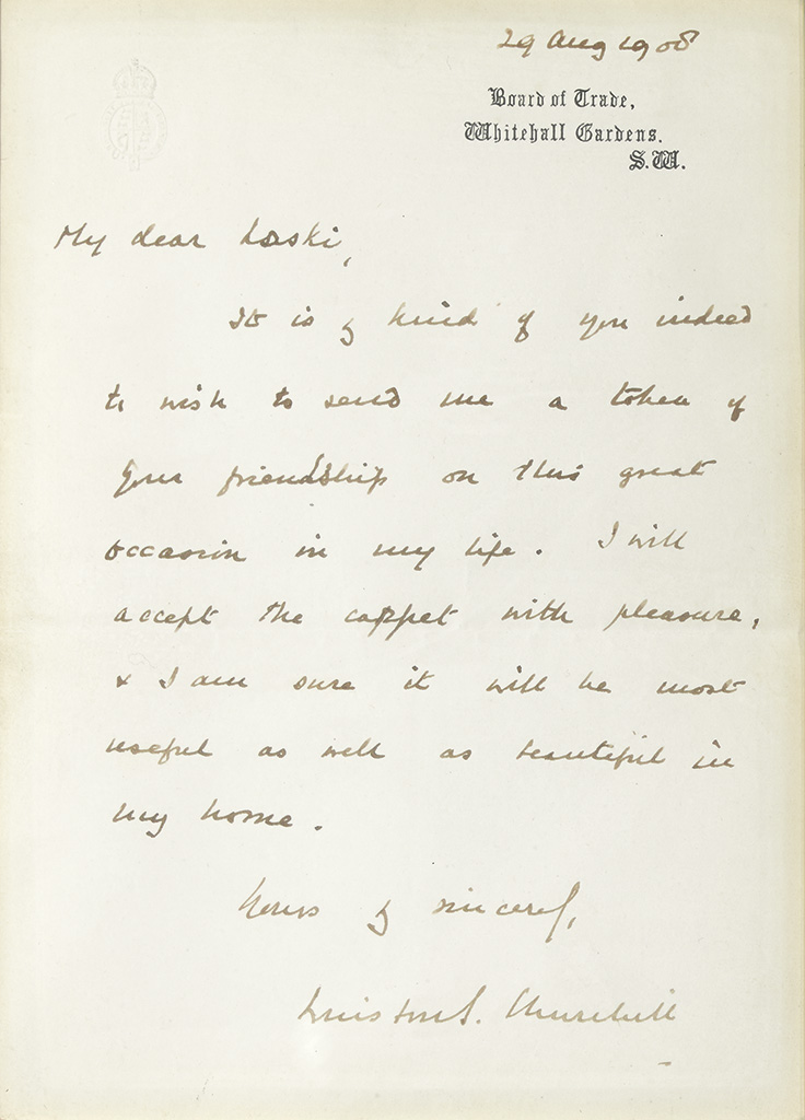 CHURCHILL, WINSTON S. Two items, each to Mabel Laski: Photograph Signed and Inscribed * Autograph Letter Signed.