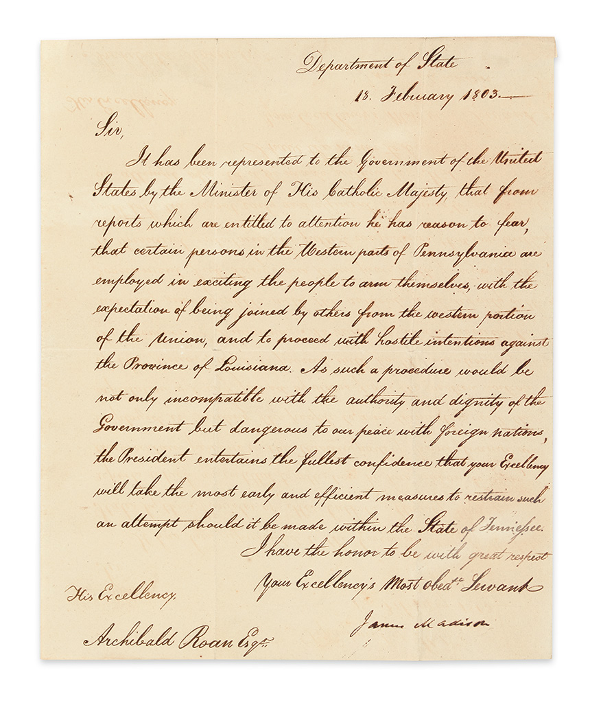 MADISON, JAMES. Letter Signed, as Secretary of State, to Governor of TN Archibald Roane,