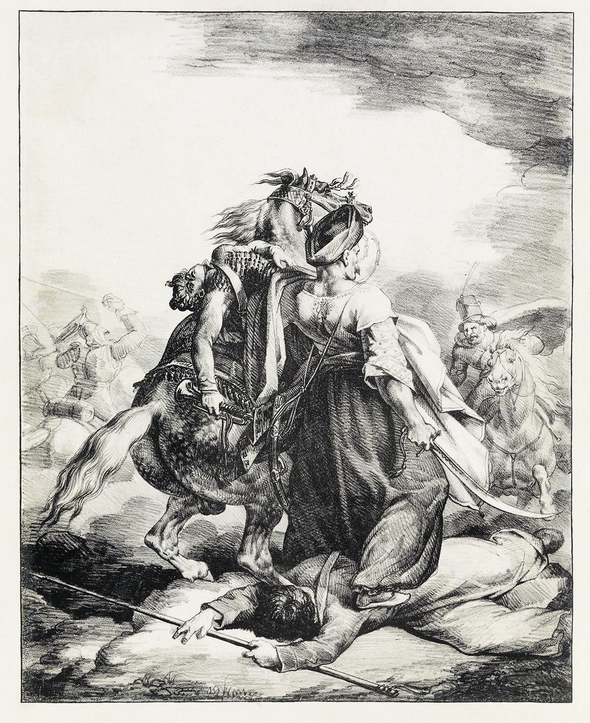 THÉODORE-GÉRICAULT-Mameluck-Défendant-un-Trompette-Blessé