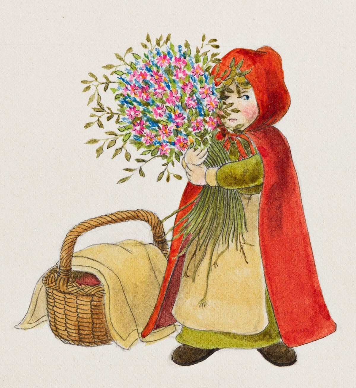 WILLIAM PÈNE DU BOIS (1916-1993) Little Red Riding Hood with Basket & Bouquet. [CHILDRENS / FAIRY TALE]