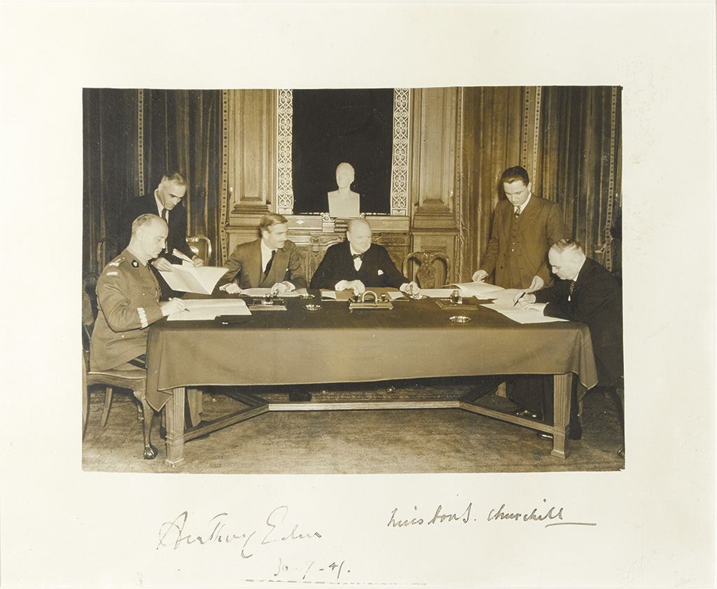 CHURCHILL, WINSTON S. Group Photograph Signed, as Prime Minister,