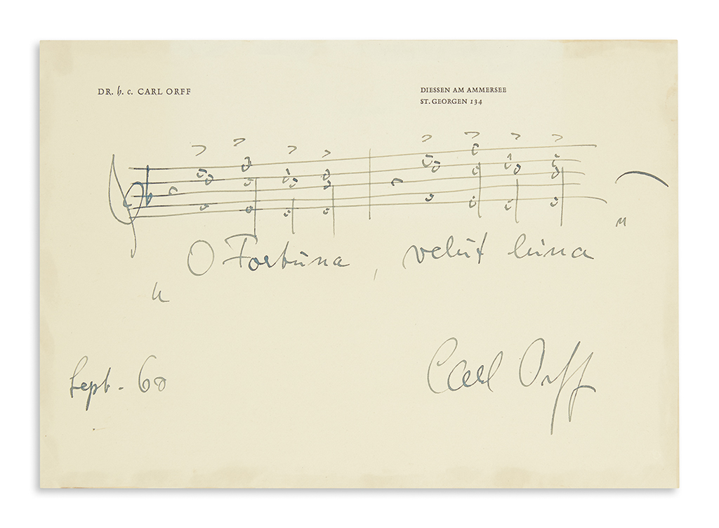 ORFF-CARL-Autograph-Musical-Quotation-dated-and-Signed-two-b
