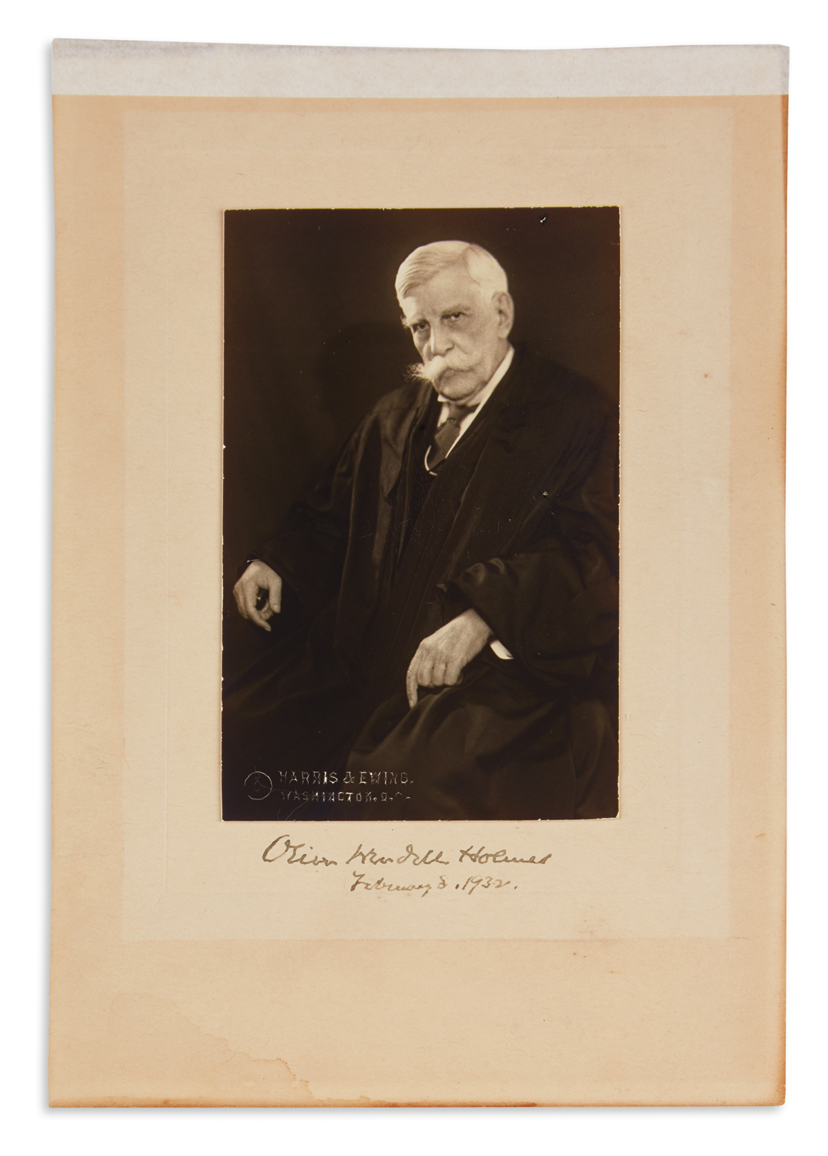 HOLMES, OLIVER WENDELL; JR. Photograph dated and Signed,