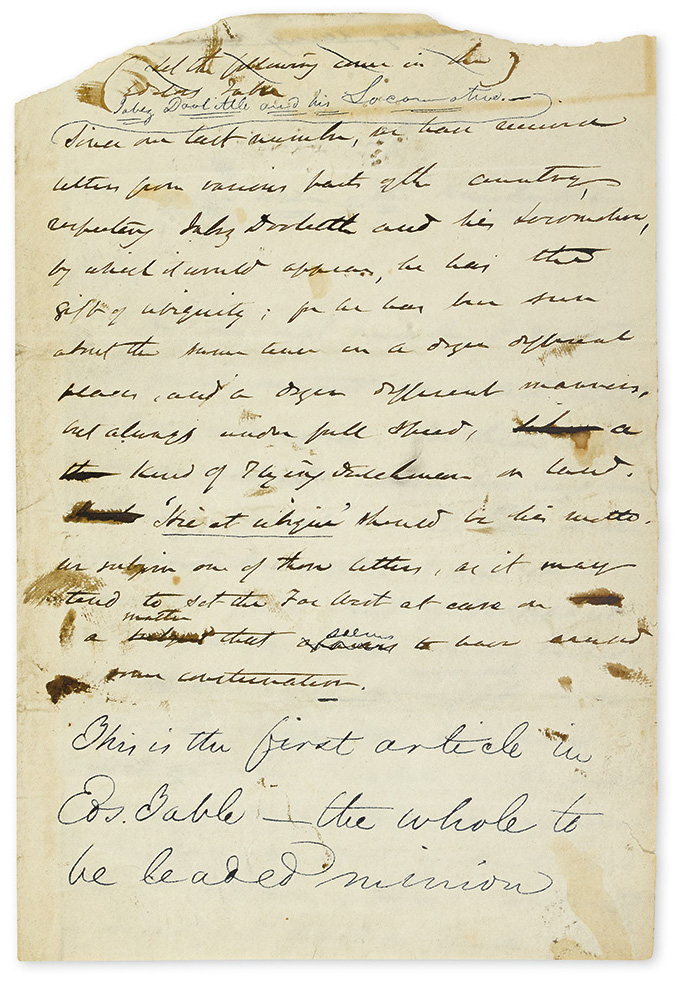 """IRVING, WASHINGTON. Autograph Manuscript, unsigned, working draft of an article entitled """"Jabez Doolittle and his Locomotive,"""""""