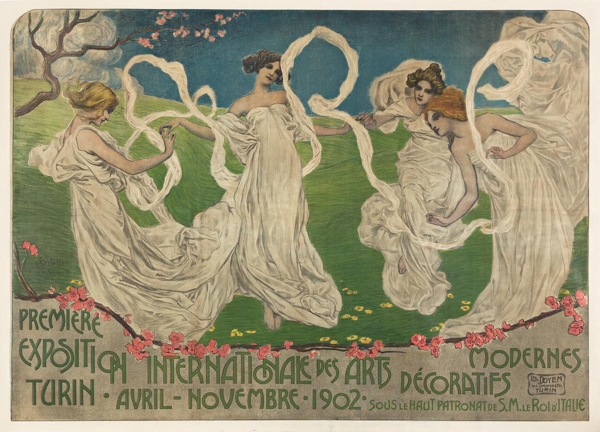 LEONARDO BISTOLFI (1859-1933).  PREMIÈRE EXPOSITION INTERNATIONALE DES ARTS DÉCORATIFS MODERNES. 1902. 41x57½ inches, 104x146 cm. Doyen