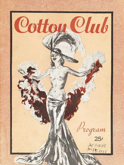 (MUSIC.) COTTON CLUB. Two Cotton Club programs, two Cotton Club menus, and a wooden noisemaker/souvenir, The Cotton Club, Aristocrat o