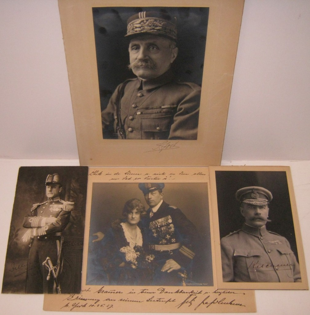 (WORLD WAR I.) Group of 4 Photographs Signed or Signed and Inscribed, by military heroes, each shown in uniform.