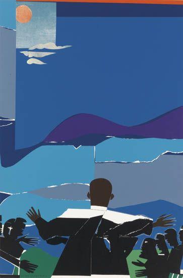 ROMARE-BEARDEN-(1911---1988)-Martin-Luther-King-Jr---Mountai