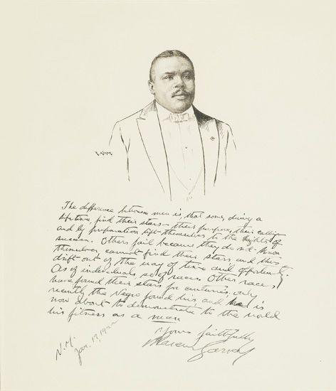 GARVEY, MARCUS. KASTOR, ROBERT. Original pen and ink portrait of Garvey, beneath which Garvey has written an eleven line (87 word) stat