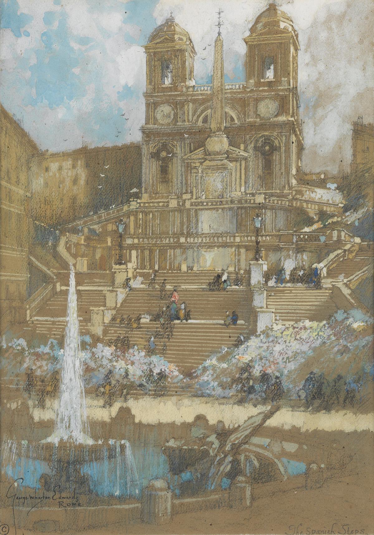 HARPERS ITALY GEORGE WHARTON EDWARDS. Leading up from the Piazza di Spagna to the Church of Santa Trinità de Monti.