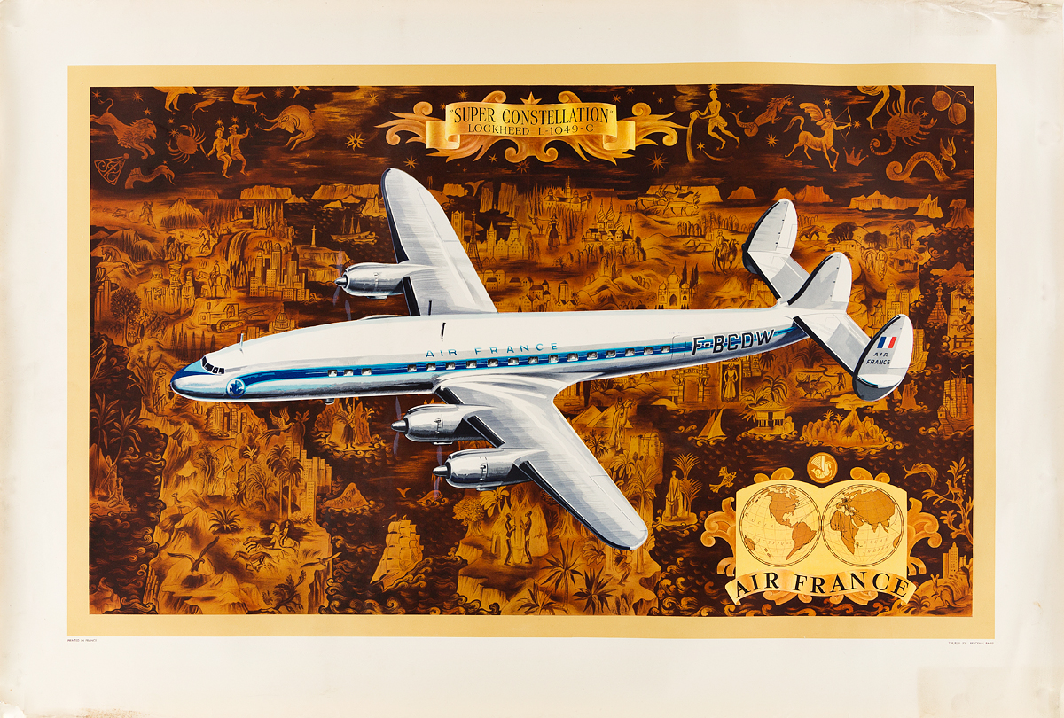 VARIOUS ARTISTS. AIR FRANCE. Group of 5 posters. Sizes vary.