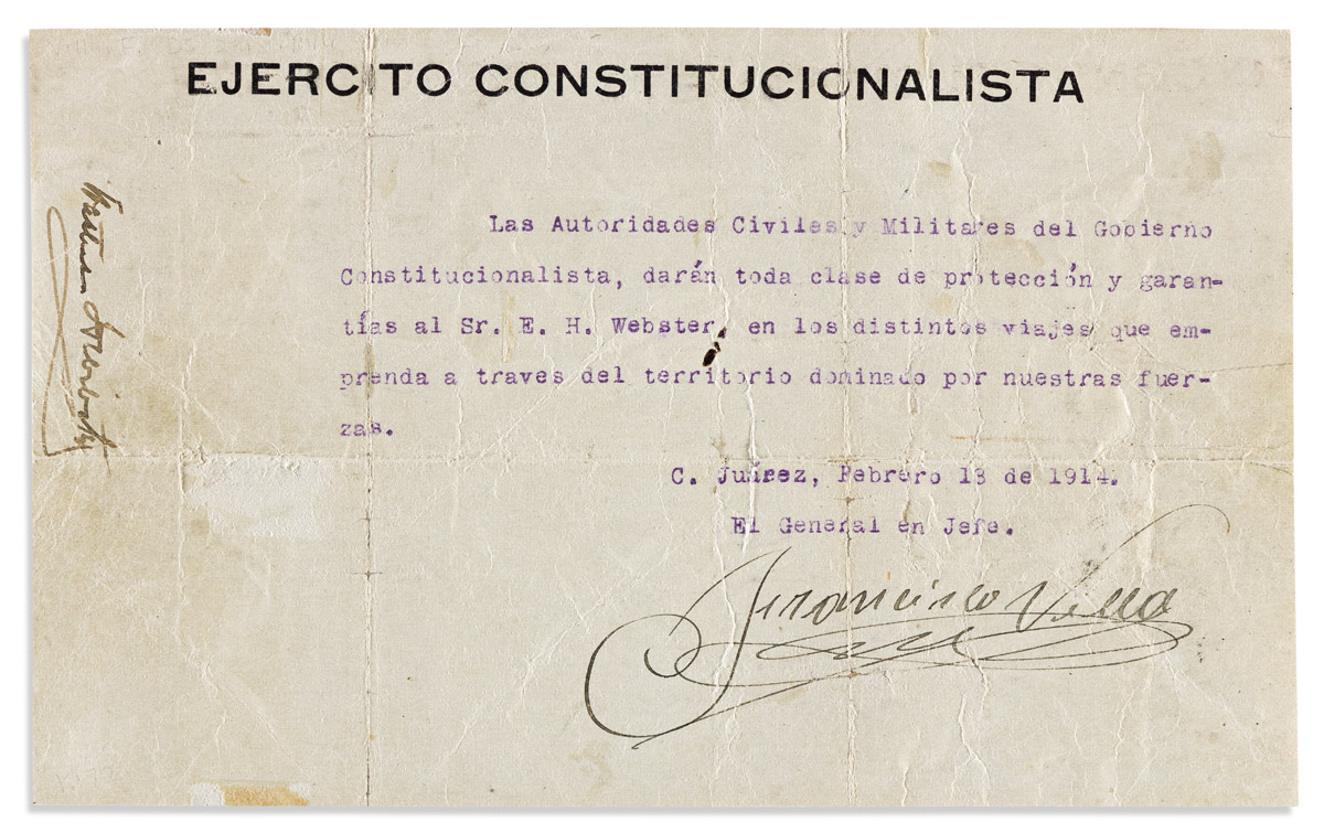 """VILLA, FRANCISCO (""""PANCHO""""). Typed Document Signed, a passport, in Spanish:"""