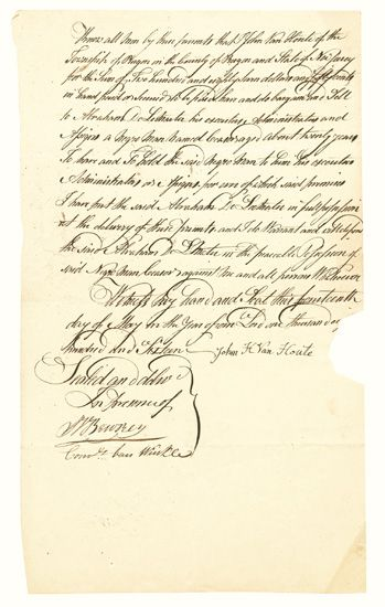 (SLAVERY AND ABOLITION--NEW JERSEY.) Group of five early nineteenth century manuscript slave sale documents.