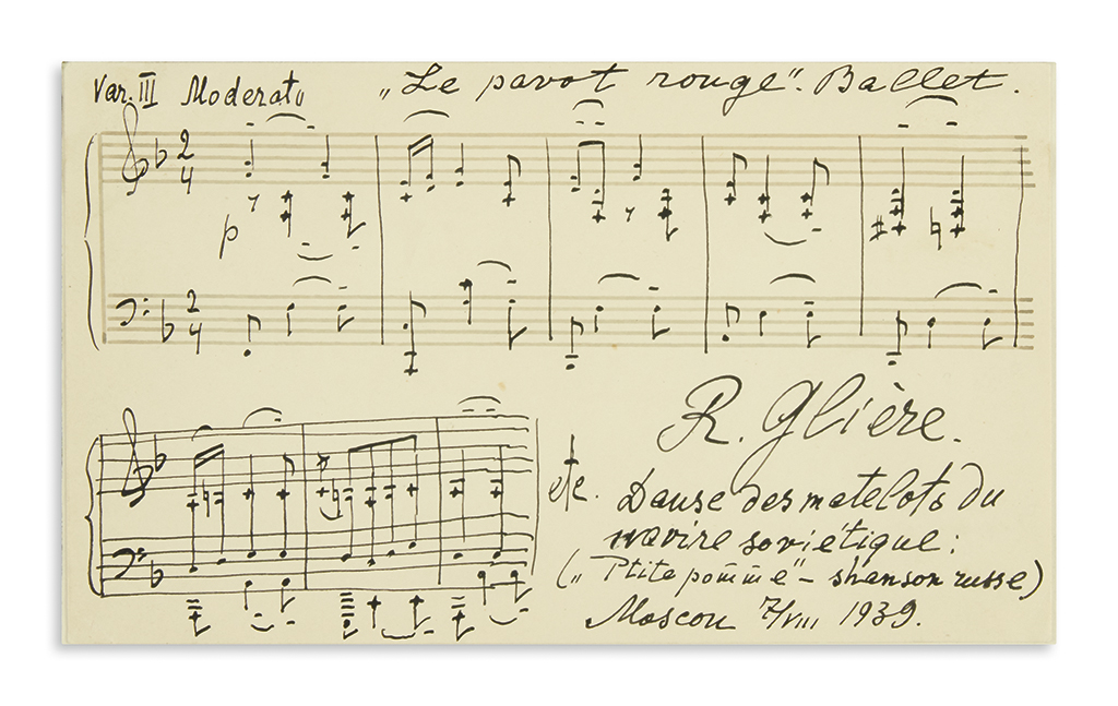 GLIÈRE-REINHOLD-Autograph-Musical-Quotation-dated-and-Signed