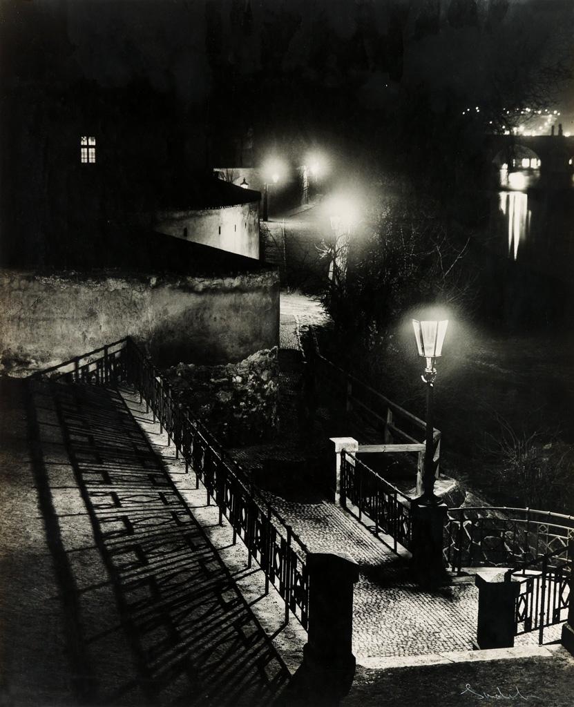 JOSEF SUDEK (1896-1976) Riverside view at night, Prague.