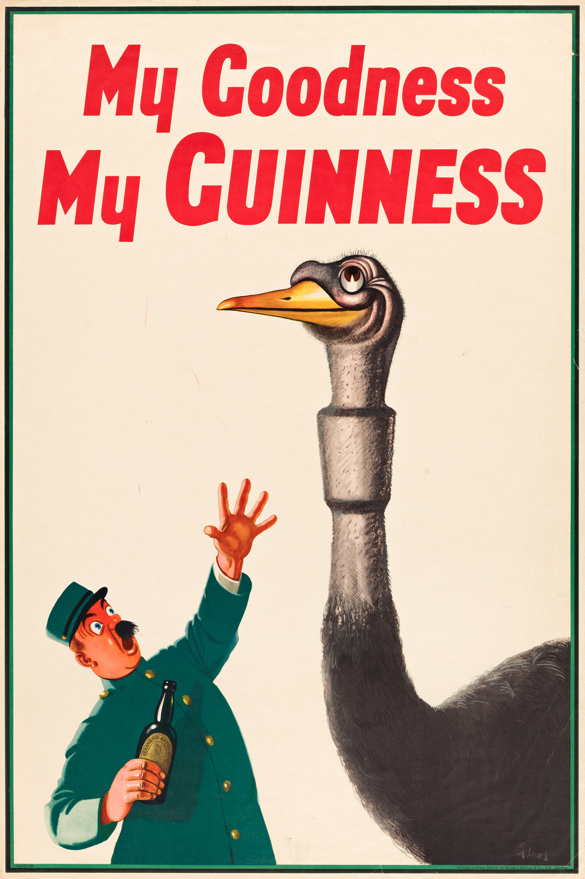 JOHN GILROY (1898-1985).  MY GOODNESS MY GUINNESS. 1936. 30x20 inches, 76x50 cm. Sanders Phillips & Co., Ltd., London.