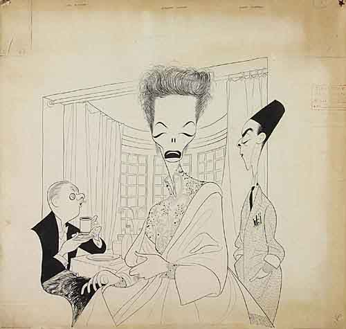 The Millionairess, with Cyril Ritchard, Katherine Hepburn, Robert Helpmann. Pen and Ink on board, 21x22 inches. Signed lower right. 195