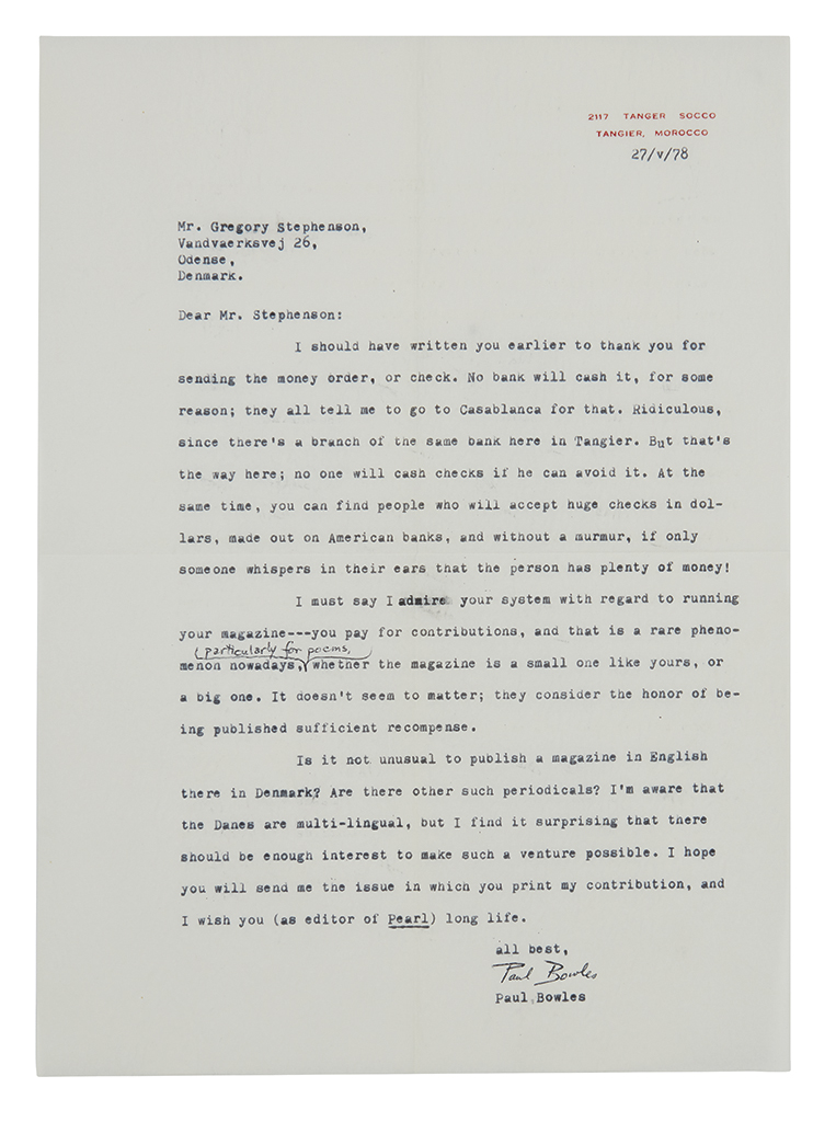 BOWLES, PAUL. Archive of 31 items Signed, in full or Paul B., each to Gregory Stephenson: Two Autograph Letters * 25 Typed Letters *