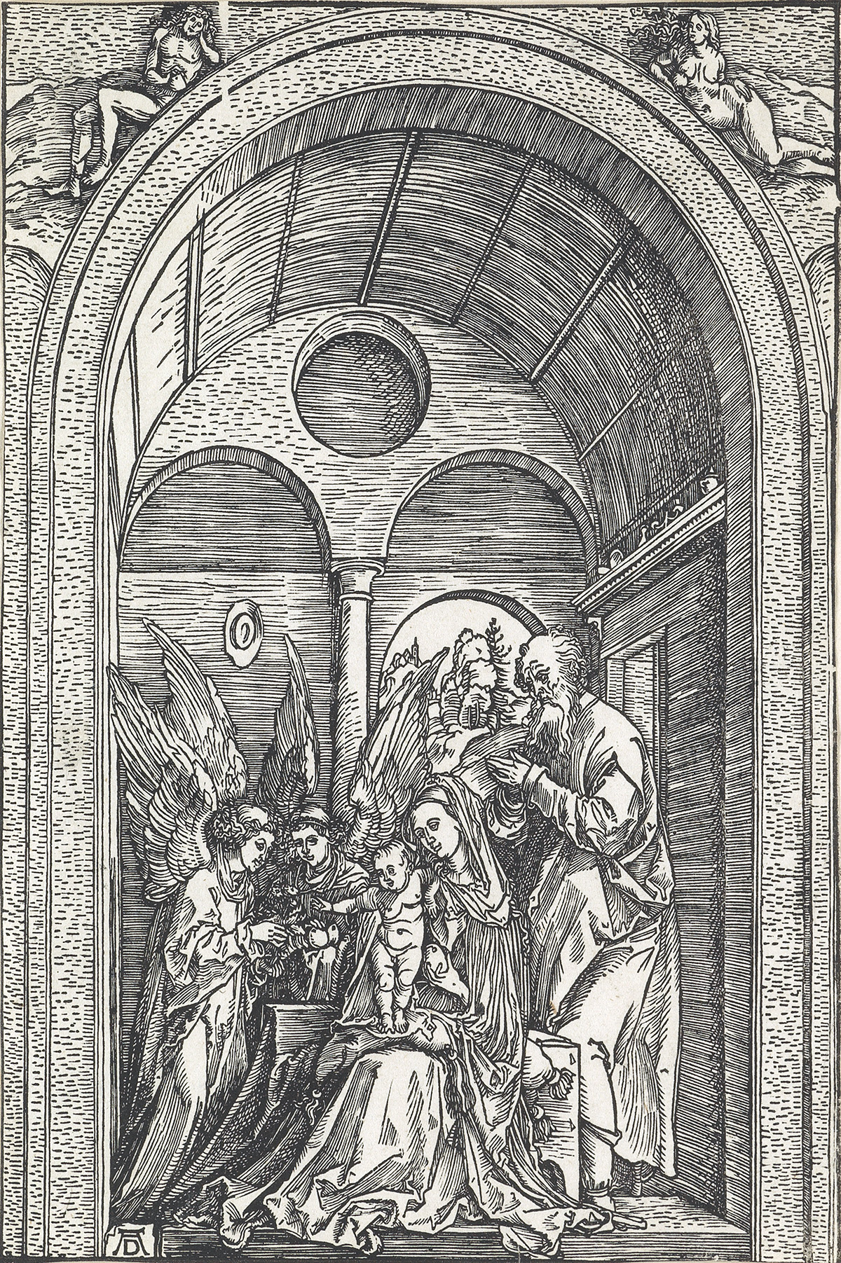 ALBRECHT DÜRER The Holy Family with Two Angels in a Vaulted Hall.