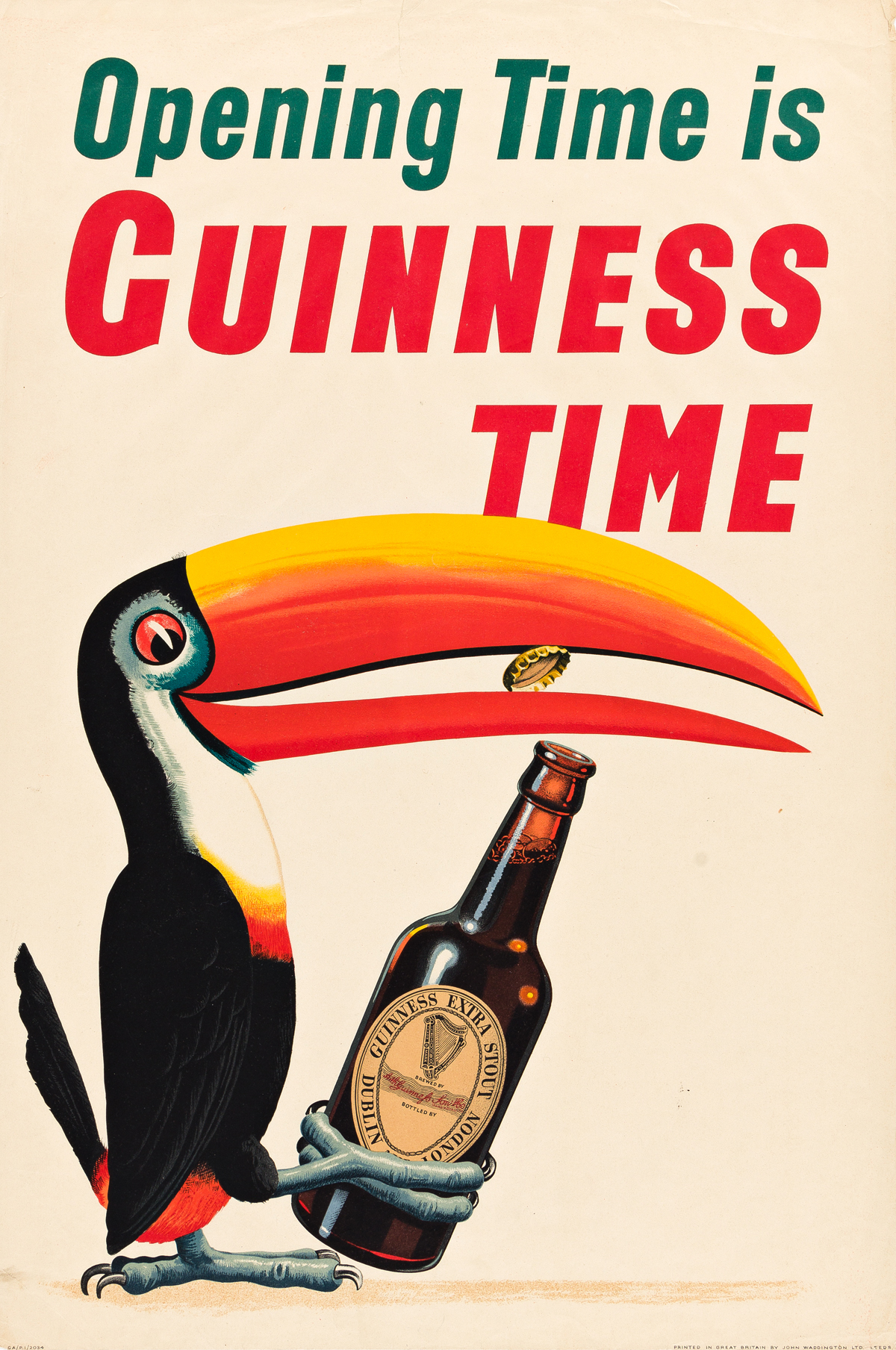 JOHN GILROY (1898-1985).  OPENING TIME IS GUINNESS TIME. Circa 1953. 29x20 inches, 75x50 cm. John Waddington, Ltd., Leeds.