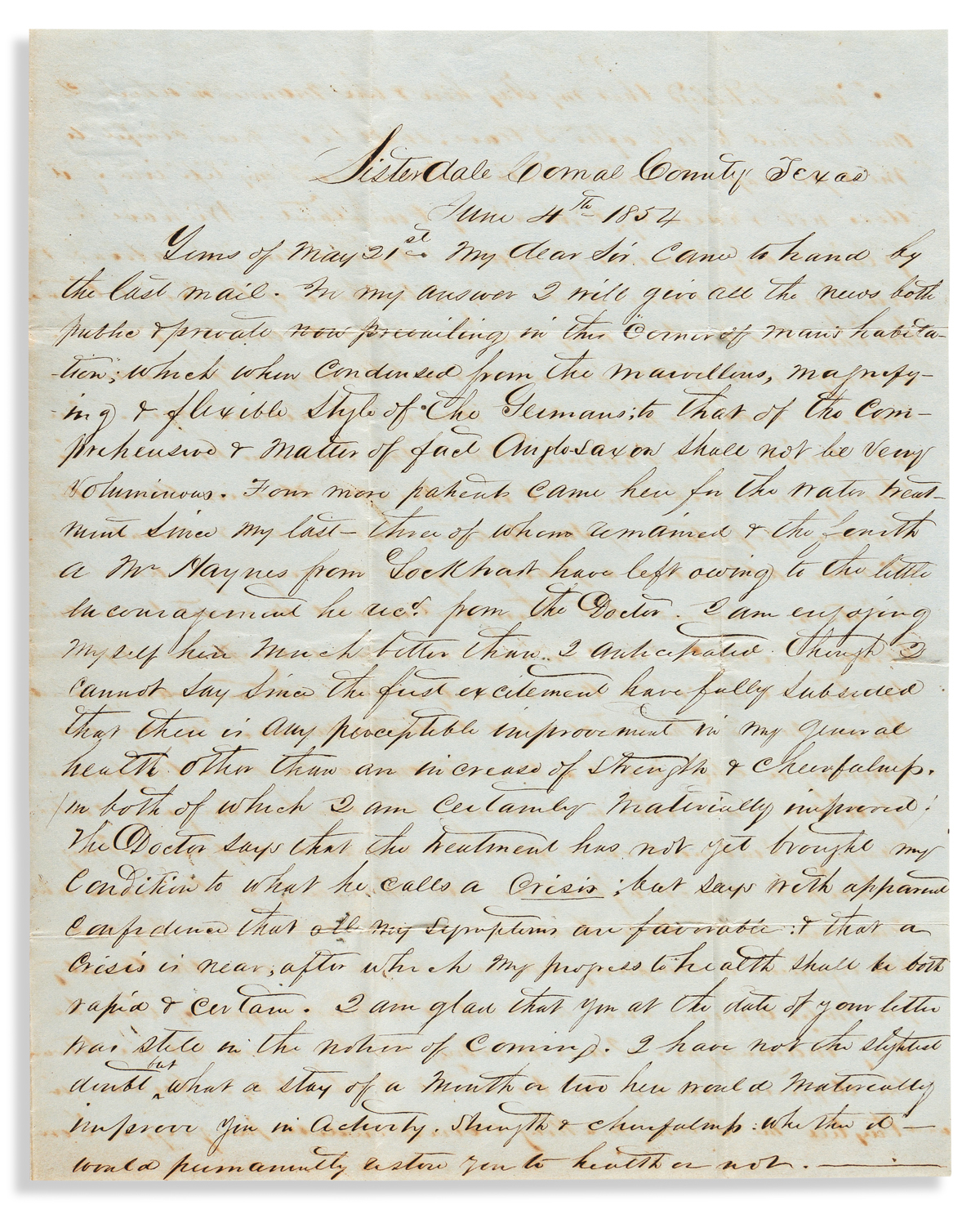 (WEST--TEXAS.) A.G. Campbell. Letter by a patient taking the water cure at Kapps Hydropathic Clinic.