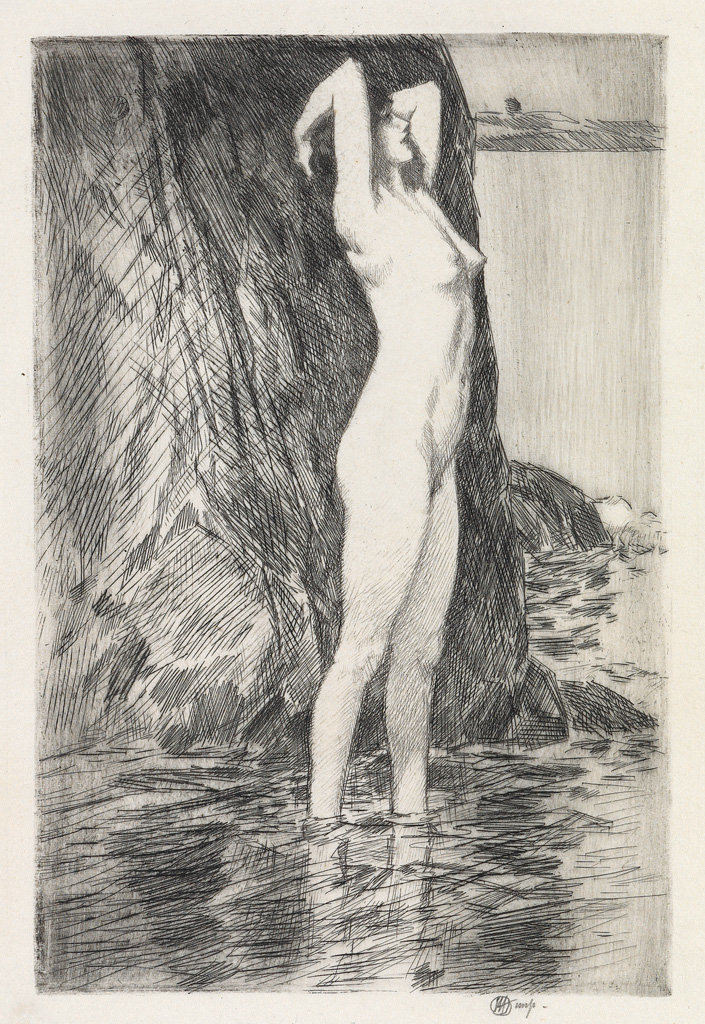 CHILDE-HASSAM-Swimmer-Morning--Facing-Water