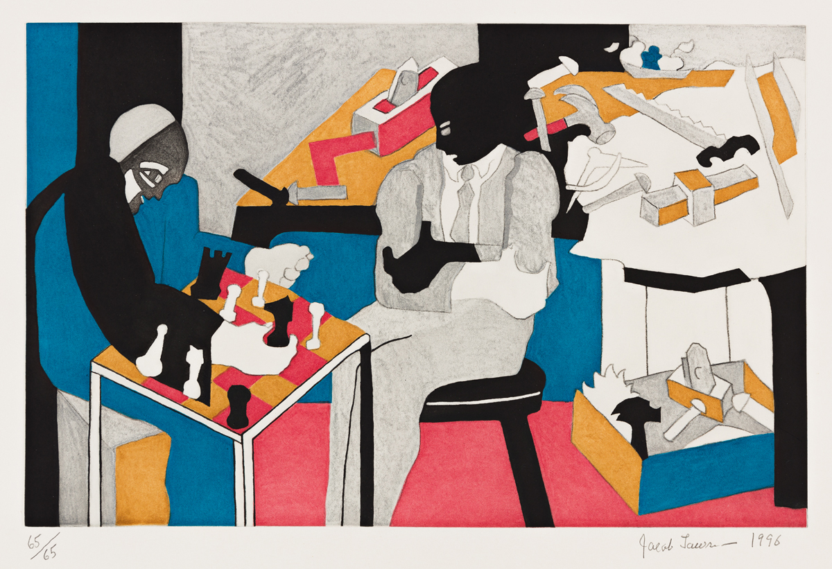 JACOB LAWRENCE (1917 - 2000) Two Builders Playing Chess.