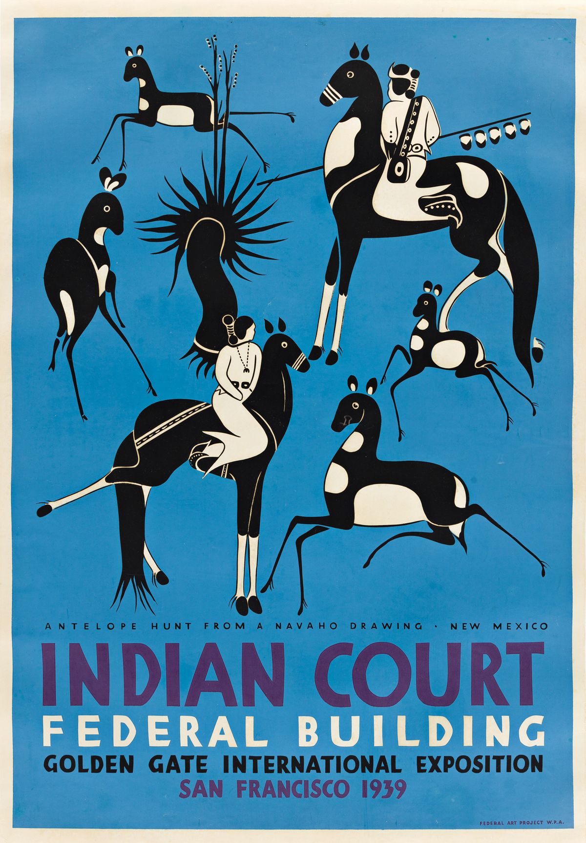LOUIS B. SIEGRIEST (1899-1989) Indian Court Federal Building / Antelope Hunt.
