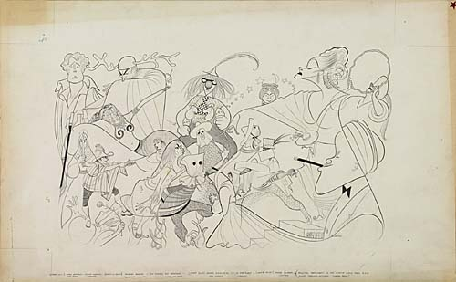 Camino Real. Pen and Ink on board, 16x26 inches. Signed Hirschfeld Philadelphia lower right. 1953.