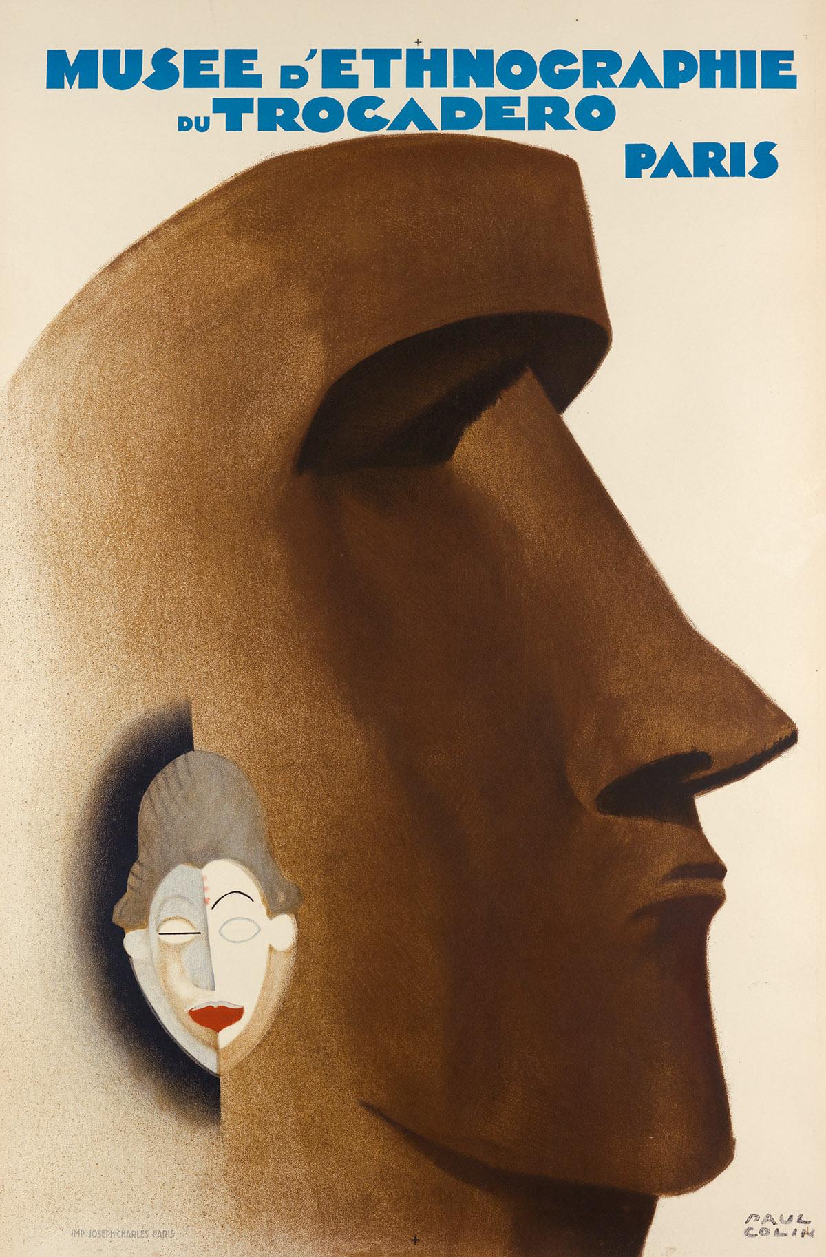 PAUL COLIN (1892-1986). MUSEE DETHNOGRAPHIE DU TROCADERO / PARIS. 1930. 47x31 inches, 119x79 cm. Joseph-Charles, Paris.