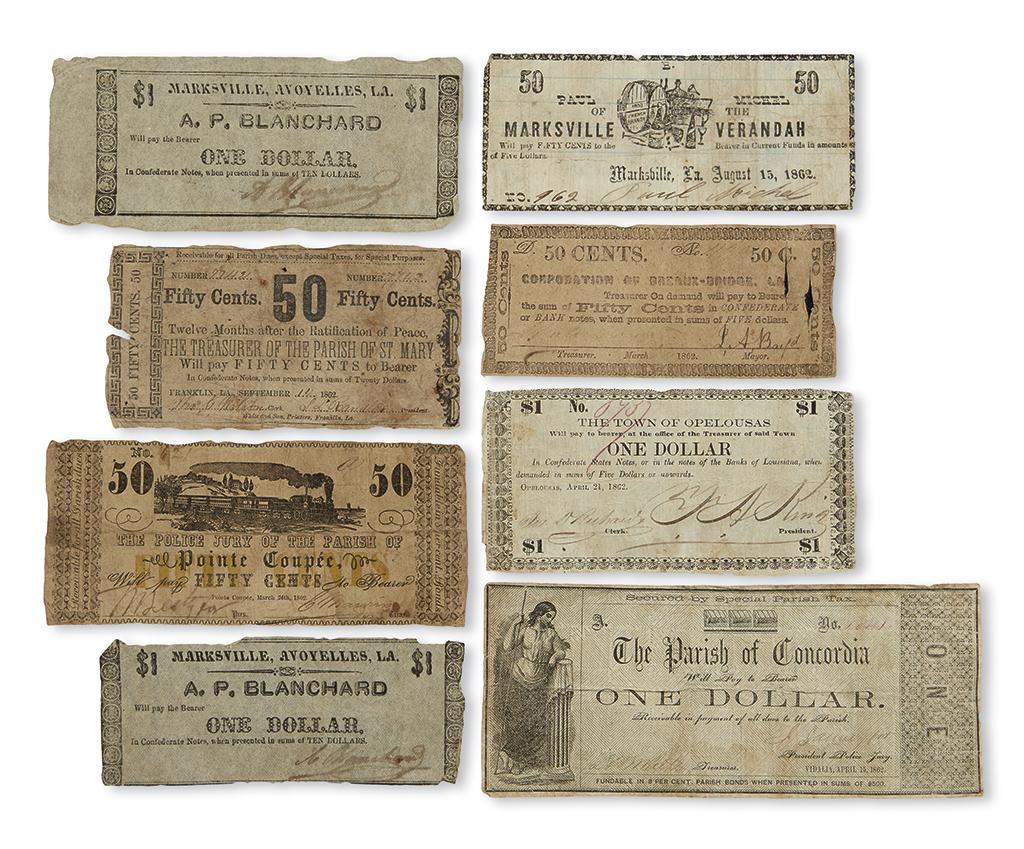(CIVIL WAR--LOUISIANA.) Group of 8 obsolete Louisiana Confederate banknotes.