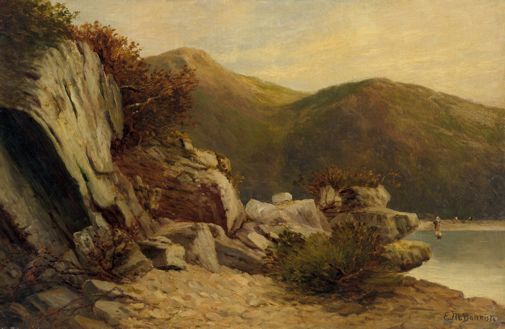 EDWARD M. BANNISTER (1828 - 1901) Untitled (Rock Study with Clam Diggers, Rhode Island).