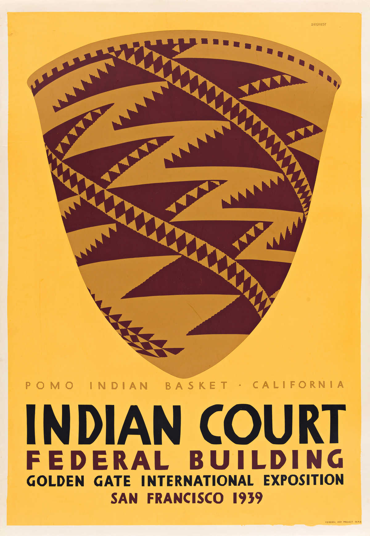 LOUIS B. SIEGRIEST (1899-1989) Indian Court Federal Building / Pomo Indian Basket - California.