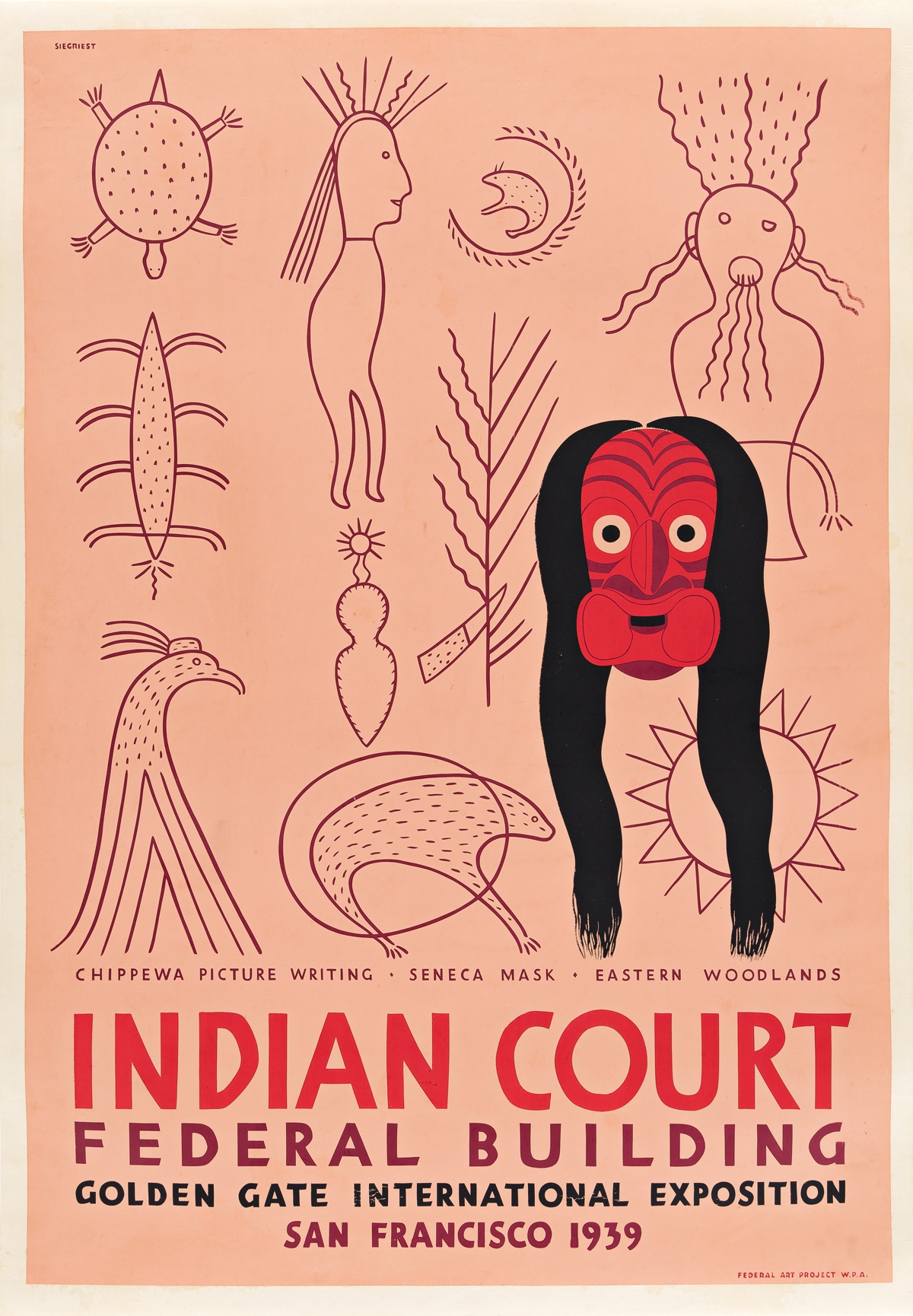 LOUIS B. SIEGRIEST (1899-1989) Indian Court Federal Building / Chippewa Picture Writing.