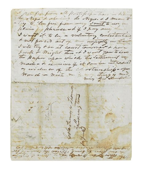 (SLAVERY AND ABOLITION.) Manuscript Document. Letter from the part-owner of a slave who was beaten to death, addressed to Colo. Thomas