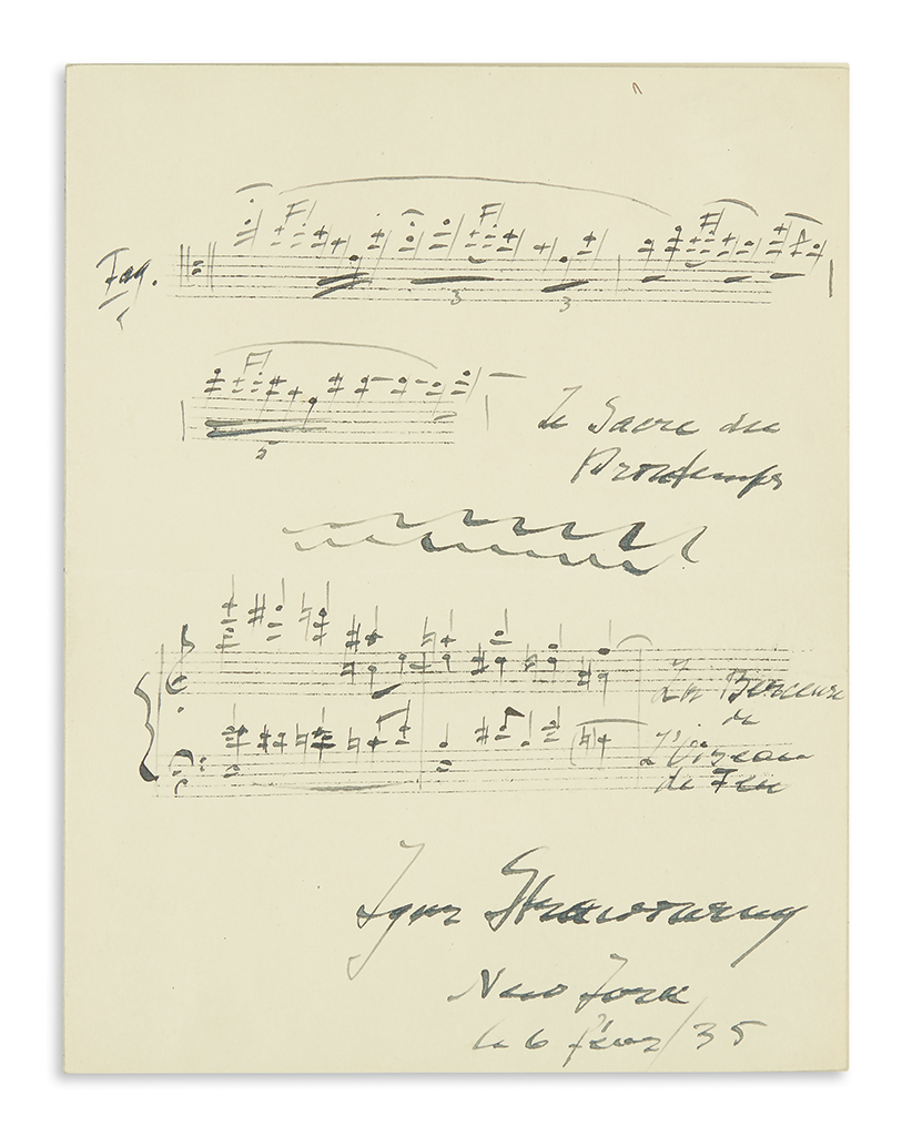 STRAVINSKY, IGOR. Two Autograph Musical Quotations on same sheet, one Signed: Rite of Spring * Berceuse from The Firebird.